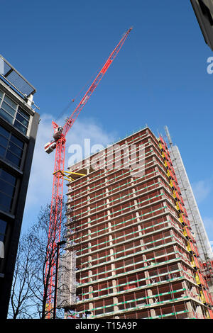 New residential & office space building under construction & crane at Finsbury Tower in 103-105 Bunhill near Old Street London EC1  UK  KATHY DEWITT - Stock Image