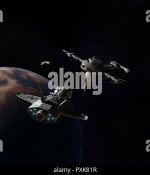 Spaceships approaching a Space Station Above an Alien Planet - Stock Image