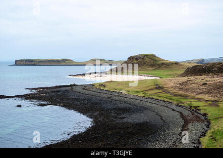 Coral Beach at Claigan on Loch Dunvegan with island of Isay in distance, Isle of Skye, Highland Region, Scotland, UK - Stock Image