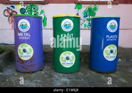 Recycling bins in Turkey - Stock Image