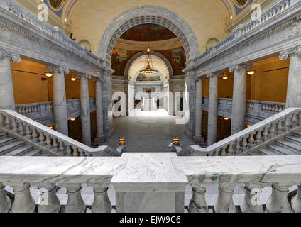 Utah State Capitol Interior and stairway from Senate Wing - Stock Image