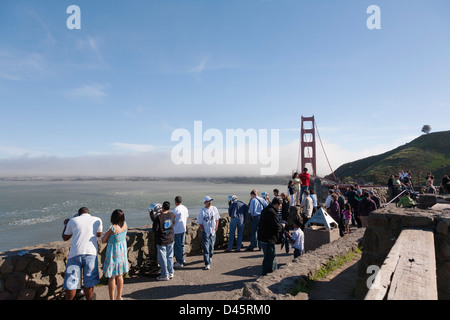 Golden Gate Bridge from the vista point in Marin County, California, USA - Stock Image