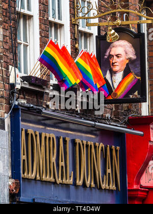 Admiral Duncan Pub Soho London - well known as one of Soho's oldest gay pubs it was the subject of a homophobic nail bomb attack in 1999. - Stock Image