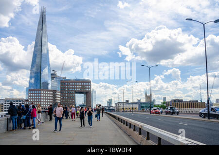 A view looking south along London Bridge with the Shard in the background. London, UK - Stock Image