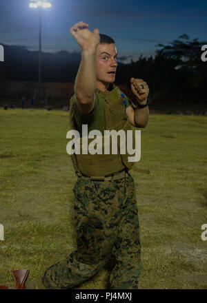 U.S. Marine Lance Cpl. Brittan Bangle, a generator mechanic with Special Purpose Marine Air-Ground Task Force  Southern Command, executes a chin jab palm heel strike technique during a Marine Corps Martial Arts Program class on Soto Cano Air Base, Honduras, Aug. 28, 2018. The Marines and sailors of SPMAGTF-SC are conducting security cooperation training and engineering projects alongside partner nation military forces in Central and South America. The unit is also on standby to provide humanitarian assistance and disaster relief in the event of a hurricane or other emergency in the region. (U. - Stock Image