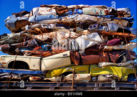 Crushed vehicles for recylcing - Stock Image