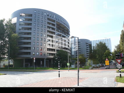 Student housing, apartment complex tower blocks at Delft Technical University campus, The Netherlands - Stock Image