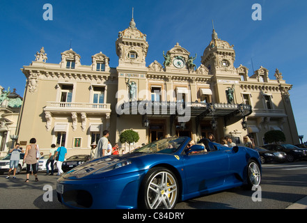 Monaco, Casino, blue sports car - Stock Image