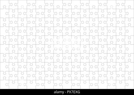 Jigsaw puzzle blank template or cutting guidelines of 150 transparent pieces, landscape orientation, and visual ratio 3:2 (every piece is a single shape). - Stock Image