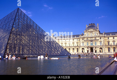 Glass pyramid at The Louvre Paris France - Stock Image