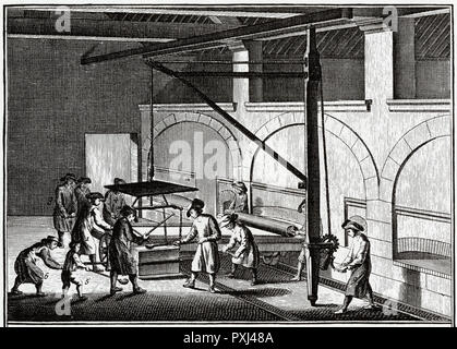 GLACES The operation of 'skimming' (ecremer) plate glass       Date: 1765 - Stock Image
