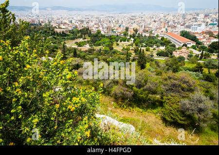 Athens, Greece. View from Areopagus below the Acropolis.  With the Temple of Hephaestus and Stoa of Attalos. - Stock Image