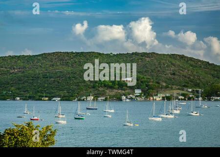 Boats at anchor, Ensenada Bay, Culebra, Puerto Rico - Stock Image