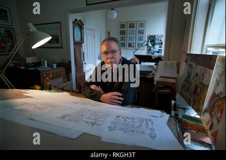 Brian Sanders artist and Illustrator in his studio in Littlebury, near Saffron Walden in rural Essex, England. 11-3-2013 Brian has been an artist and illustrator all his life and now at 75 he has been contracted to draw the illustrations for all the advertising and promotion camapiagn  for the sixth series of Mad Men, the popular TV series to launch in the USA on 7 April and in the UK on Sky Atlantic on 10 April. He was chosen to replicate the work he did in the 1960's and 1970's in a style he calls 'Bubble and Streak' in acrylics similar to the work of the period in the background of these ph - Stock Image