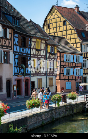 Streen scenery of the old medieval towncenter of Colmar, France - Stock Image