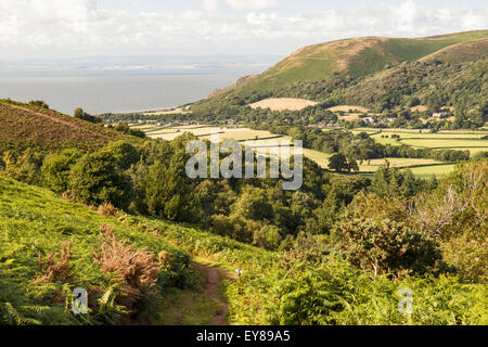 Bossington Hill and Porlock Bay viewed from Ley Hill - Stock Image