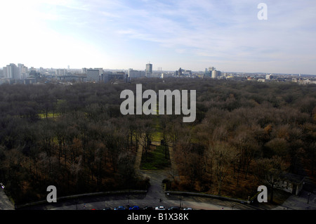 Tiergarten aerial view road city  siegessaule victory column Berlin Germany deutschland travel tourism real - Stock Image