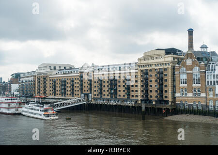 Butlers Wharfe, River Thames, London, UK, Europe - Stock Image