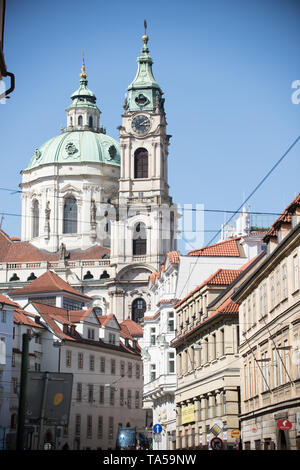 Czech Republic, Prague. A local famous buildings and local streets. Mid shot - Stock Image
