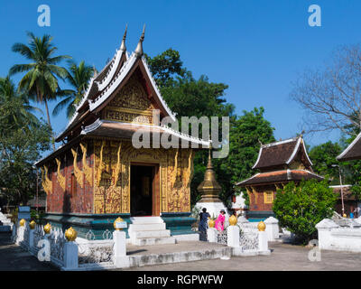Wat Xieng Thong a Buddhist temple in Luang Phrabang Laos one of the most important of Lao monasteries monument to spirit of religion royalty - Stock Image