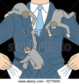 Small men searching empty pockets of businessman - Stock Image