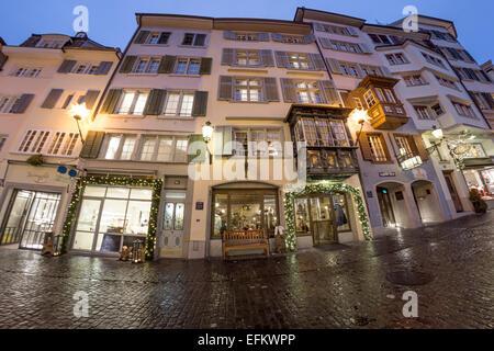 Augustinergasse , christmas illumination, Zurich, Switzerland - Stock Image