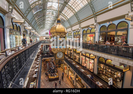 Looking down from the top floor of the glass roofed Queen Victoria Building in central Sydney, New South Wales, Australia - Stock Image