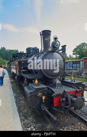 Steam locomotive on the Train de L'Ardeche waits at Boucieu-le-Roi station.Ardeche department, Rhone Alps, France - Stock Image