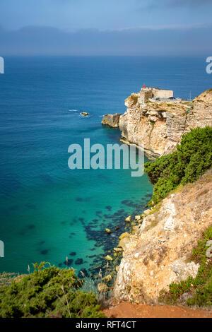 Nazarè lighthouse and coastline, Portugal - Stock Image