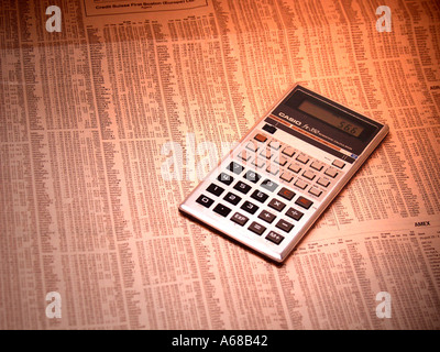 Stock market share prices and calculator - Stock Image