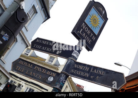 sign post North Laine district Brighton UK - Stock Image