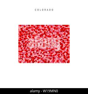 I Love Colorado. Red and Pink Hearts Pattern Vector Map of Colorado Isolated on White Background. - Stock Image