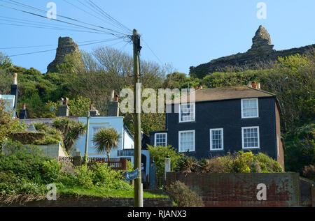 Elegant Georgian houses in Hastings on Castledown Terrace on the hillside under the castle, East Sussex, UK - Stock Image