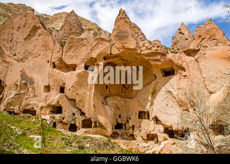 geography / travel, Turkey, Middle East, Cappadocia, tuff rock formations with dugouts at the Zelve Valley, Additional - Stock Image