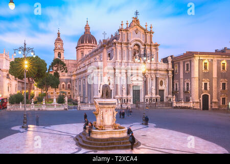 Piazza Duomo in Catania with the Cathedral of Santa Agatha and Liotru, symbol of Catania in the evening, Sicily, - Stock Image