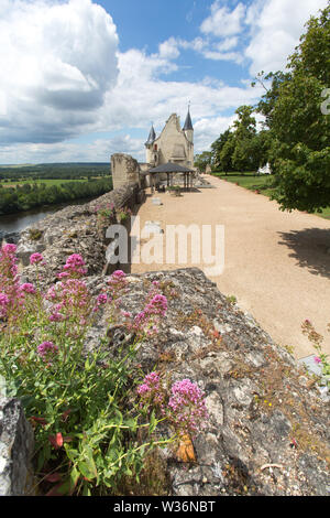 Chinon, France. Picturesque view of the Fortress Royal with the preserved gable of the main room in the background. - Stock Image