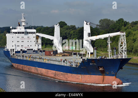 General cargo vessel Jette eastbound in the Kiel-Canal - Stock Image