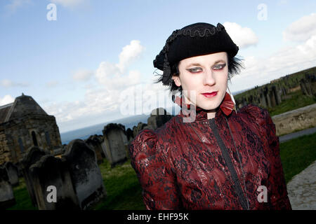 Man in costume at Whitby Goth Weekender. - Stock Image