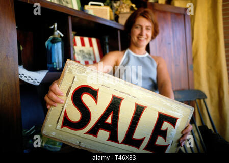 Antique Shop small Business Owner in Her Shop, Tampa, FL, USA - Stock Image