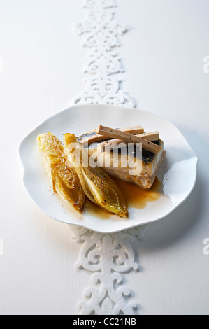 Roasted Turbot with Foie Gras - Stock Image