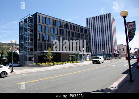 June 23, 2018- St. Johns, Newfoundland: The newly constructed ALT hotel, on Water Street downtown - Stock Image