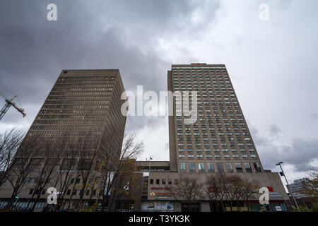MONTREAL, CANADA - NOVEMBER 10, 2018: building of Hotel des Gouverneurs in downtown Montreal, Quebec. Gouverneurs Hotel is a landmark and is one of th - Stock Image