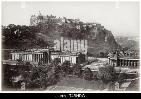 Edinburgh castle and Scottish National Gallery, vintage photograph by James Valentine, c. 1870-1890 - Stock Image