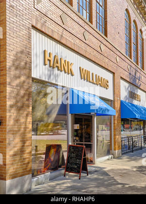 Hank Williams Museum, a country western music legend, front exterior entrance on Commerce Street in downtown Montgomery Alabama, USA. - Stock Image