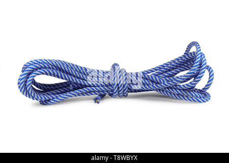 Blue nylon rope isolated on white background - Stock Image
