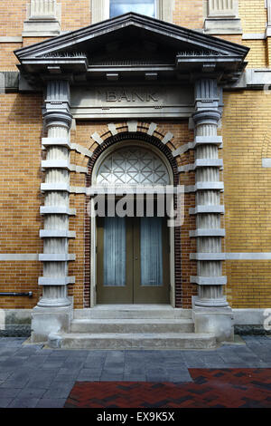 Doorway in the Farmers and Merchants National Bank building, Old Town pedestrian mall, Winchester, Virginia - Stock Image
