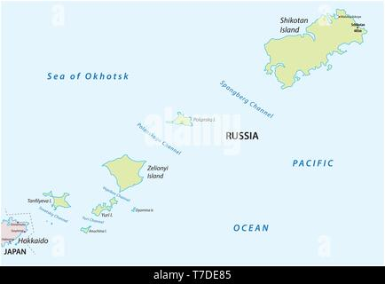 vector map of russian island group Habomai - Stock Image