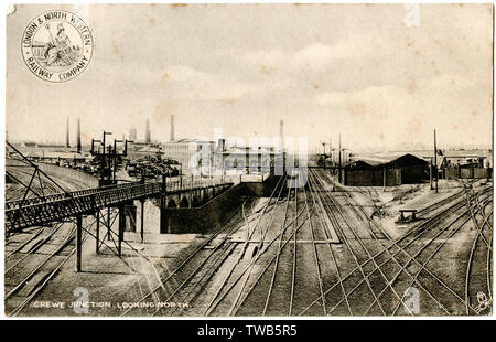 Crewe Junction, looking north, Cheshire.      Date: circa 1904 - Stock Image