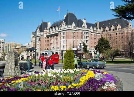 Fairmont Empress Hotel in Victoria BC in the Spring.  Inner Harbour of Victoria BC Canada. - Stock Image