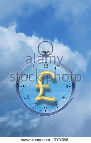Time is money time management time cost watch with pound £ sign in the clouds. - Stock Image